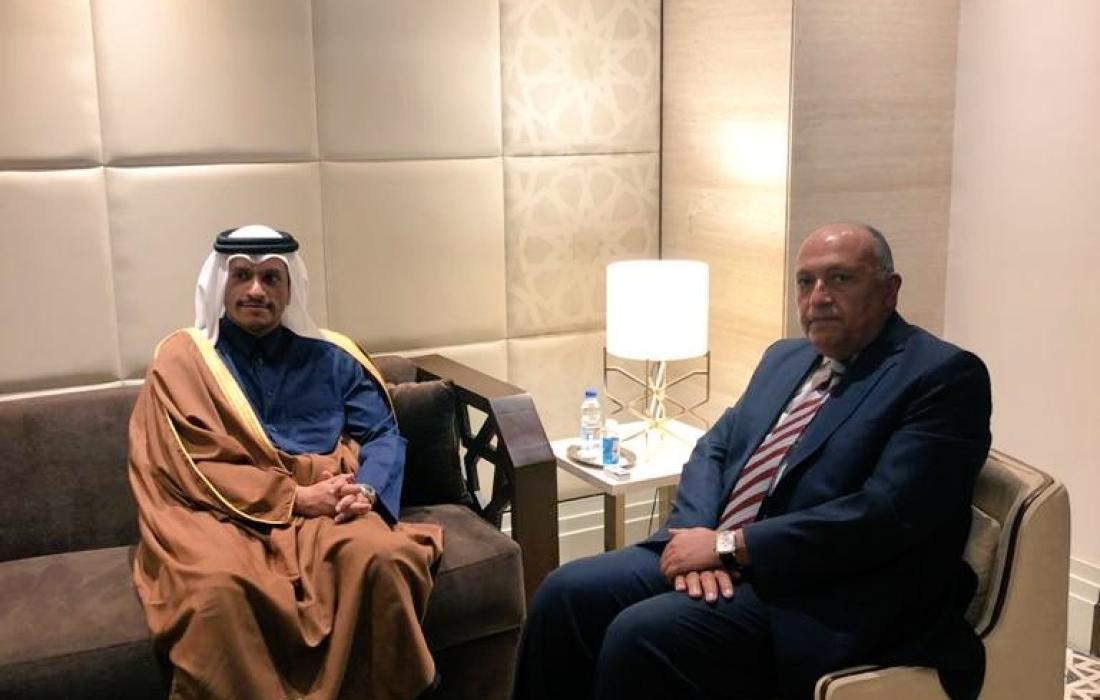 اجتماع وزيري الخارجية المصري والقطري لأول مرة بعد 4 سنوات من القطيعة.jpg