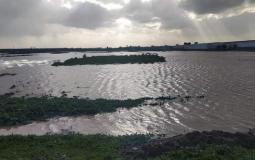 تدمير مئات الدونمات وخسائر كبيرة جراء تعمد فتح الاحتلال عبارات المياه شرق غزة