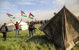 خيم مسيرة العودة على حدود غزة