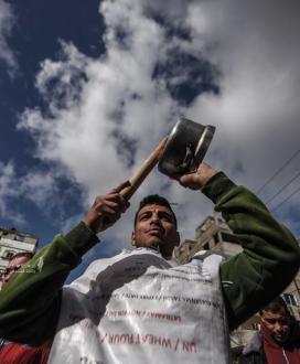 """وقفة احتجاجية فى خانيونس ضد تقليصات """"الأونروا"""""""